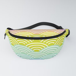 Seigaiha or seigainami literally means blue wave of the sea. rainbow pattern abstract scale Fanny Pack
