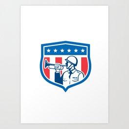 Soldier Blowing Bugle Crest Stars Retro Art Print