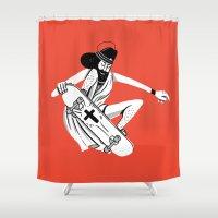jesus Shower Curtains featuring Jesus Skates by KODYMASON