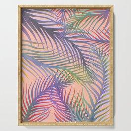 Palm Leaves Pattern - Purple, Peach, Blue Serving Tray