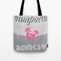 banksy Tote Bags featuring Banksy Soup by CyberStar Media