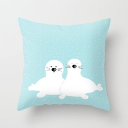 Baby seals Throw Pillow