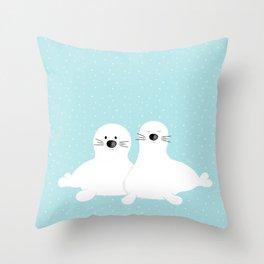 Baby seals Throw Pillow