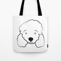 poodle Tote Bags featuring Poodle by anabelledubois