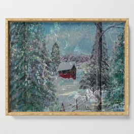"""""""Cabin In The Snow"""" Serving Tray"""