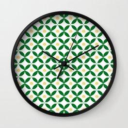 Green and Yellow Geometric Print Wall Clock