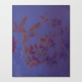 Vintage Birds And Flowers - Blue Canvas Print