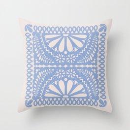 Fiesta de Flores Serenity Blue Throw Pillow