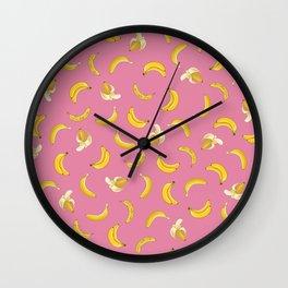 pink bananas Wall Clock