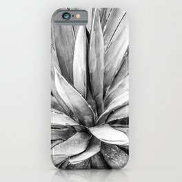 Succulents // Black and White Cactus Plant Leaves Close Up Horizontal iPhone Case