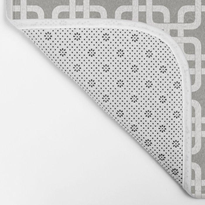 Mid-Century Modern Geometric Pattern, rounded corner squares interlocking Bath Mat