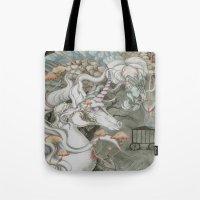 the last unicorn Tote Bags featuring The Last Unicorn by Bonnie Johnson