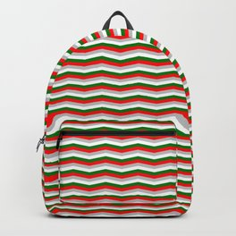 Red White Green and Silver Christmas Wavy Chevron Stripes Backpack
