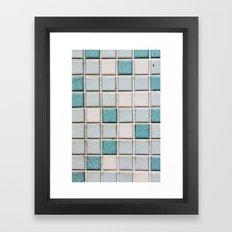 Turquoise Blue Tile Pattern Framed Art Print