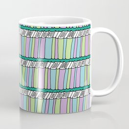 Doodle Books - Pattern in Green, Purple and Blue Coffee Mug