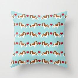 Cavalier King Charles Spaniel blenheim heart dog breed spaniels pet gifts Throw Pillow