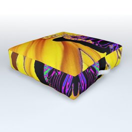 BLACK BUTTERFLY ON YELLOW SUNFLOWER ABSTRACT Outdoor Floor Cushion