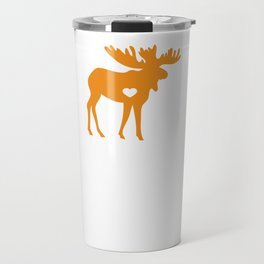 Moose Make Me Happy Cute I Love Alaska Moose Orange Travel Mug