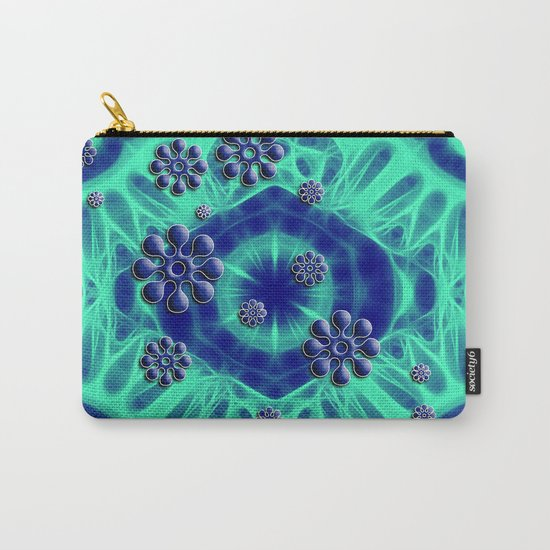 Popping flowers in trippy blue Carry-All Pouch