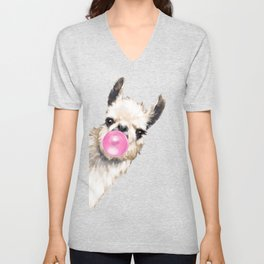 Bubble Gum Sneaky Llama in Blue Unisex V-Neck