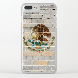 Mexico flag on a brick wall Clear iPhone Case