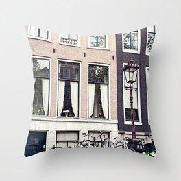 Amsterdam bikes Throw Pillow