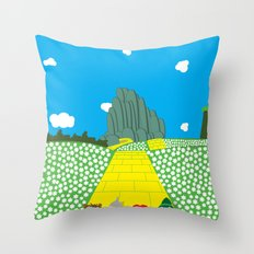 Pengwins that are following a brick road that is yellow Throw Pillow
