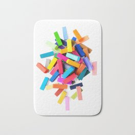 Set of colorful crayons, isolated on white background Bath Mat