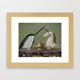 Narwhal & Unicorn Have Tea Framed Art Print