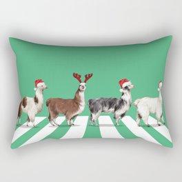 Christmas Llama The Abbey Road in Green Rectangular Pillow