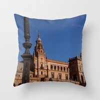 spain Throw Pillows featuring Square Spain - Seville, Spain by Richard Torres Photo