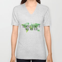 The World Belongs to Those Who Read - Watercolour Unisex V-Neck