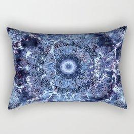 Iris Mandala Blue Rectangular Pillow