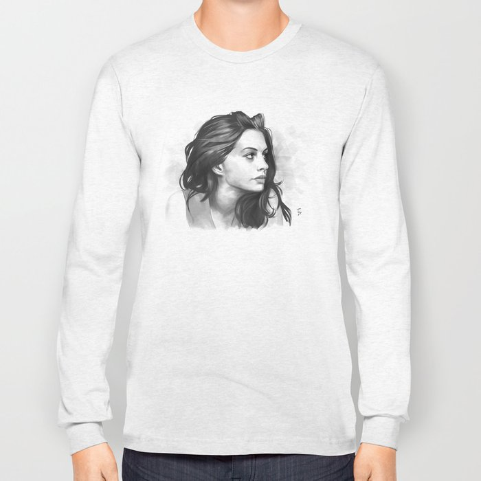 Anne Hathaway minimalist illustration Long Sleeve T-shirt