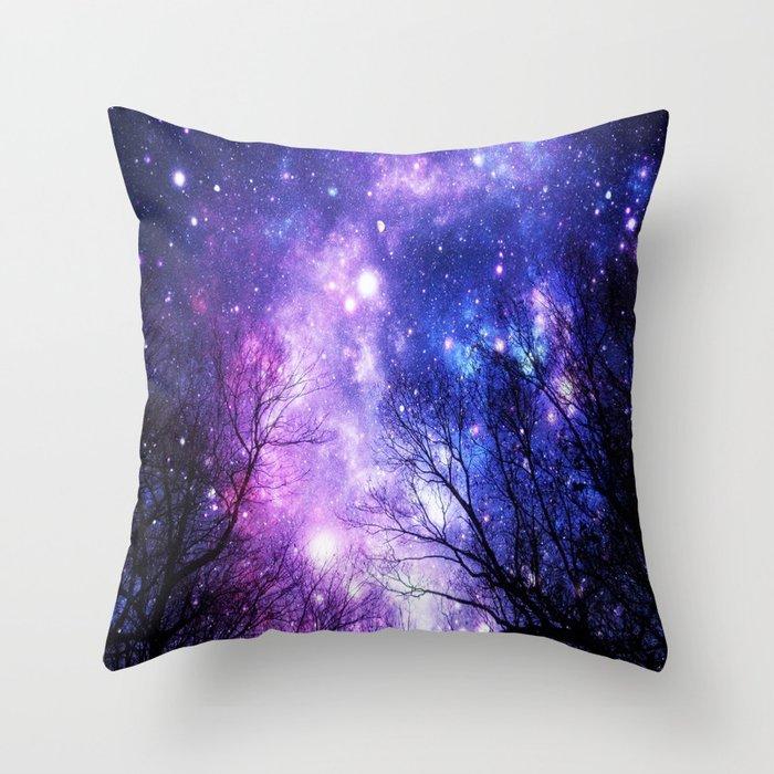 Black Trees Purple Blue Space Deko-Kissen