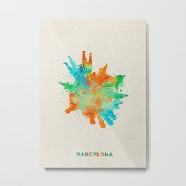 Barcelona, Spain Colorful Skyround / Skyline Watercolor Painting Metal Print