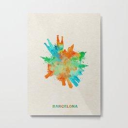 Barcelona, Spain Colorful Skyround / Skyline Watercolor Painting Metal Print