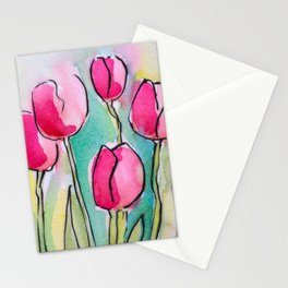 Pink Tulips Stationery Cards