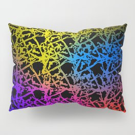 Fluttering pattern of neon squiggles and yellow ropes on a black background. Pillow Sham