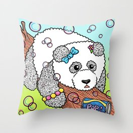 Cute Panda Bubble Pop Doodle green version Throw Pillow