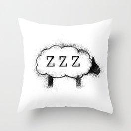 ZZZ Sheep - Distressed Throw Pillow