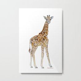 Baby Giraffe Watercolor Painting Metal Print