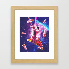 Outer Space Taco Cat - Rainbow Laser Eyes, Burrito Framed Art Print