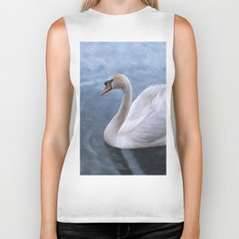 Drawing swan on blue lake water Biker Tank