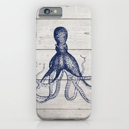 Navy Blue Deep Ocean Giant Squid On Barnboard iPhone Case
