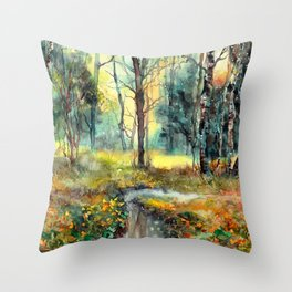The Torrent Through The Trees Throw Pillow