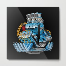 Classic Muscle Car Hot Rod Chrome Racing Engine Cartoon Metal Print