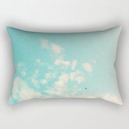 Little Bird in Aqua Skies Rectangular Pillow