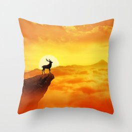 lonely sunset deer Throw Pillow