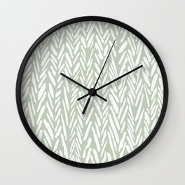Herringbone mudcloth pattern - light green Wall Clock